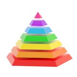 Divided into segments pyramid. Rainbow colored pyramid divided into seven segments, isolated over the white background Royalty Free Stock Photos