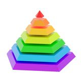 Divided into segments pyramid. Rainbow colored pyramid divided into seven segments, isolated over the white background Royalty Free Stock Photo