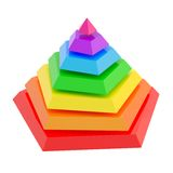 Divided into segments pyramid. Rainbow colored pyramid divided into seven segments, isolated over the white background Stock Photos
