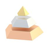 Divided into segments pyramid. Pyramid divided into three, golden, silver and bronze segment layers, isolated over the white background Royalty Free Stock Photo