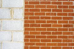 Divided walls. Division in breezeblock and housebrick Royalty Free Stock Photos