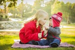 Dividendo una lecca-lecca una bambina con suo fratello Outdoors del bambino Immagine Stock