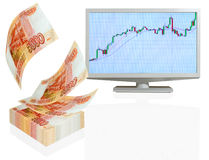 Dividends. Appreciation of the ruble in international currency markets stock image