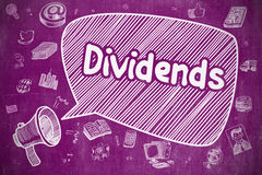 Dividends - Cartoon Illustration on Purple Chalkboard. Dividends on Speech Bubble. Hand Drawn Illustration of Yelling Megaphone. Advertising Concept. Shouting Stock Photography