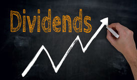 Dividends and graph is written by hand on blackboard.  royalty free stock photos