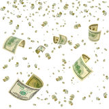 Dividends. Hundred-dollar bills floating in the air stock photos