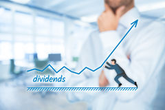 Dividends increase. Increase dividends concept. Shareholder plan (predict) dividends growth represented by graph royalty free stock image