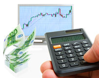 Dividends. Making a profit on the stock exchanges stock images