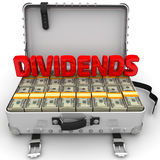 Dividends. Suitcase full of money. A suitcase filled with packs of American dollars with red word DIVIDENDS. Isolated. 3D Illustration Royalty Free Stock Photo