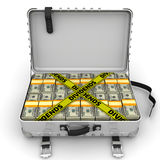 Dividends. Suitcase full of money. A suitcase filled with packs of American dollars and yellow tapes with text `DIVIDENDS`. . 3D Illustration Royalty Free Stock Photos