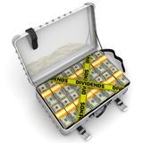 Dividends. Suitcase full of money. A suitcase filled with packs of American dollars and yellow tapes with text `DIVIDENDS`. . 3D Illustration Stock Image