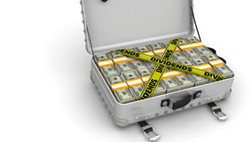 Dividends. Suitcase full of money stock video