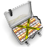Dividends. Suitcase full of money. A suitcase filled with packs of Russian rubles and yellow tapes with text `DIVIDENDS Russian language`. . 3D Illustration Stock Photography