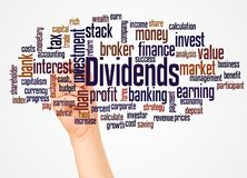 Dividends word cloud and hand with marker concept. On white background royalty free stock images
