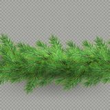 Divider of realistic looking hristmas tree branches effect with shadow isolated on transparent background. EPS 10 vector illustration
