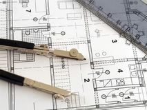 Divider and ruler on architectural plan Stock Photography