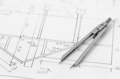 Divider on technical drawing Stock Image