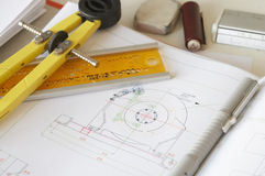 Dividers. Engineering drawing on drawing desk with ruler and pencils Stock Photo
