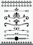Dividers, borders and page decorations. Vintage text, paragraph or chapter dividers, borders, decorations and design elements, black and white Stock Images