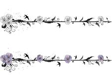 Dividers with flowers of viola. Set of vector dividers with flowers of viola Royalty Free Stock Image