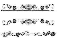 Dividers with roses. Vector floral set of dividers with roses in black and white Royalty Free Stock Image