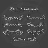 Dividers set. Chalk divider on blackboard. Hand drawn illustration Royalty Free Stock Image