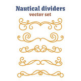 Dividers set. Nautical ropes. Decorative vector knots. Ornamental decor elements with rope. Royalty Free Stock Image