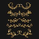 Dividers set. Vector gold ornate design. Golden flourishes. Royalty Free Stock Images