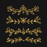 Dividers set. Vector gold ornate design. Golden flourishes. Stock Photos