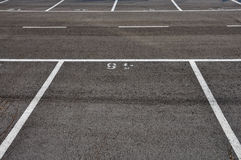 Dividing lines asphalt paved parking lot Royalty Free Stock Images