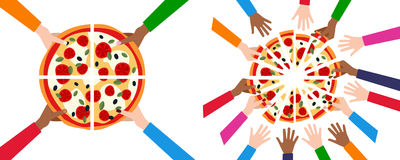 Dividing Pizza in 4 or 16 Slices & Friends. A banner with the hands of four and sixteen friends taking a slice of pizza and having dinner together, isolated on Royalty Free Stock Image