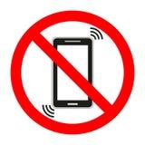 Divieto di fondo mobile delle cellule del telefono su fondo bianco Fotografia Stock Libera da Diritti