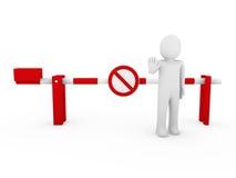 divieto umano di colore rosso della barriera di arresto 3d Immagini Stock Libere da Diritti