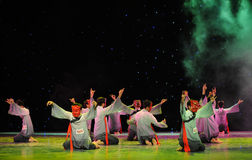 Divination fortune-The Nuo-The exorcism dance. In December 27, 2014, the Department of dance of the students are for the annual graduation performance report in Stock Photography