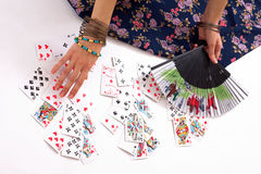 Divination by playing cards. Gypsy divination by playing cards Royalty Free Stock Photos