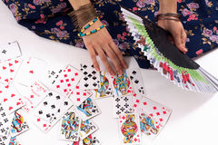 Divination by playing cards. Gypsy divination by playing cards Royalty Free Stock Photo