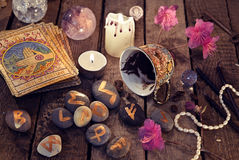Divination rite with coffee and stone runes Stock Images
