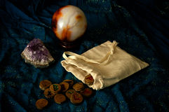 Divination runes amethyst and crystal ball Royalty Free Stock Photography
