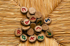 Divination Runes on rattan surface Royalty Free Stock Images