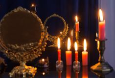 Divination with vintage mirror. The divination with vintage mirror Royalty Free Stock Image