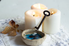 Divination of wax. Tradition polish wax (candle) divination on evening predictions on the eve of St. Andrew Royalty Free Stock Images