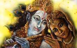 Divine couple krishna and radha togerher, painting illustration Royalty Free Stock Photos
