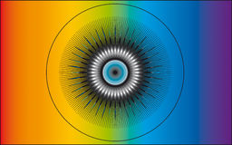 Divine Eye. Eye with an abstract design on a rainbow colored background Royalty Free Stock Photography