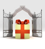 Divine gift surprise in heavenly gate Stock Photo