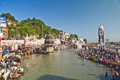 Divine holy bath at Haridwar. Haridwar is a divine place in India, where devotee come to worship from all over india. Holy river Ganga flows here and devotee Royalty Free Stock Photography