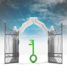 Divine key way to heavenly gate with sky flare Royalty Free Stock Photography