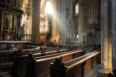 Divine light. St. Stephan cathedral in Vienna, Austria stock image