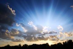 Divine Light. Beautiful blue sky with rays of light stock photos