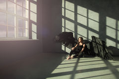Divine Light. Black Angel Stock Image