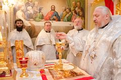Divine Liturgy in the Cathedral of saints Peter and Paul in Gomel (Belarus). Stock Photo